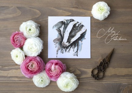 Meg Hawkins Pack of 6 Badger greeting cards