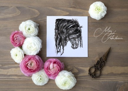 Meg Hawkins Pack of 6 Horse Head greeting cards