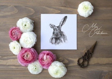 Meg Hawkins Pack of 6 Hare Head greeting cards