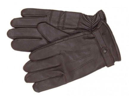 Barbour Burnished Leather Insulated Gloves Dark Brown