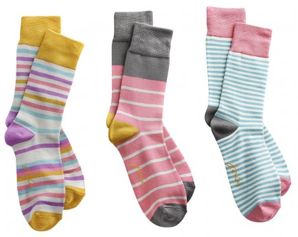 Joules Womens Bamboo Sock 3pk Multi Stripe