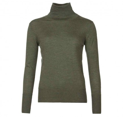 Barbour Norwood Roll Collar Knit Sweater Olive