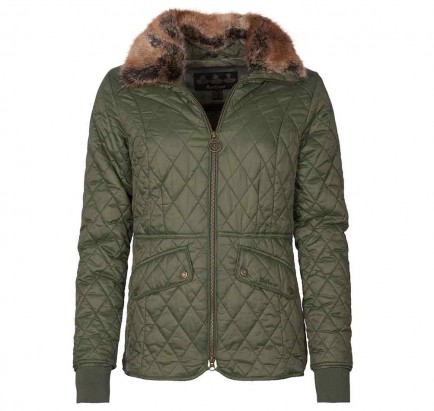 Barbour Hawthorns Quilted Jacket Olive/Green Pink Check