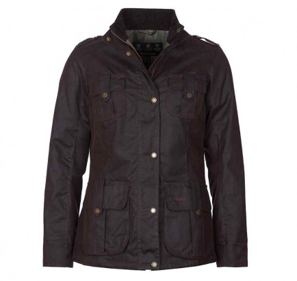 Barbour Winter Defence Wax Jacket Rustic/Green Pink Check