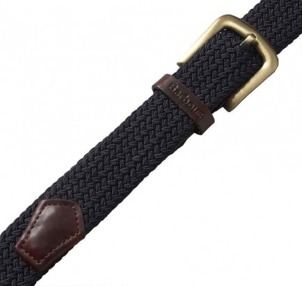 Barbour Stretch Webbing Leather Belt Navy