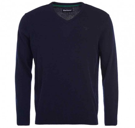 Barbour Essential Lambswool V Neck Navy