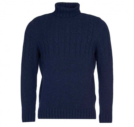 Barbour Duffle Cable Knit Sweater Dark Denim