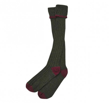 Barbour Contrast Gun Stocking Olive/Cranberry