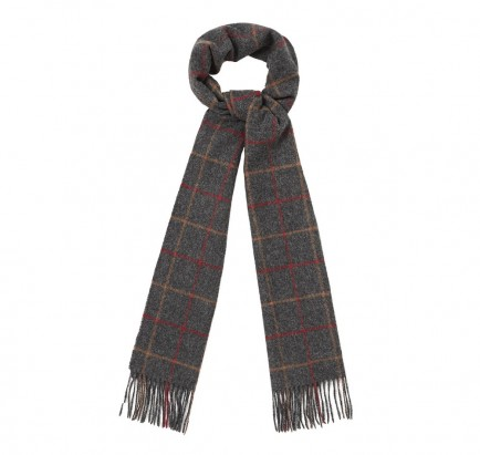 Barbour Tattersall Lambswool Scarf Charcoal/Red