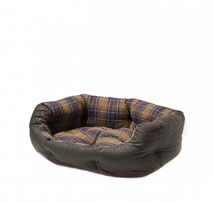 Barbour Wax/Cotton Dog Bed 30in Classic Tartan/Olive