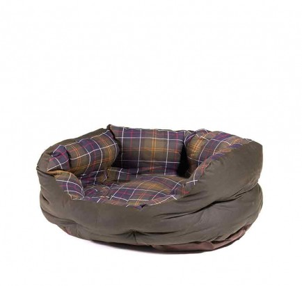 Barbour Wax/Cotton Dog Bed 24in Classic Tartan/Olive