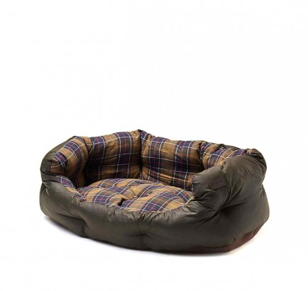 Barbour Wax/Cotton Dog Bed 35in Classic Tartan/Olive