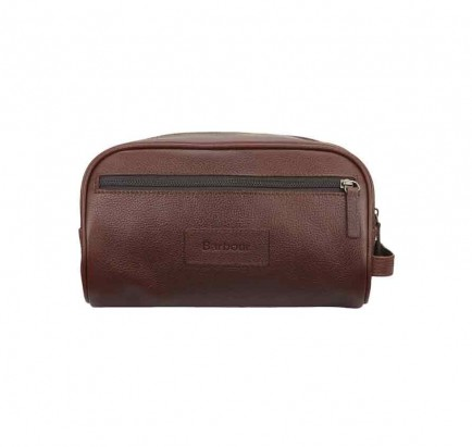 Barbour Leather Washbag Brown
