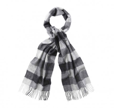 Barbour Large Tattersall Lambswool Scarf Charcoal