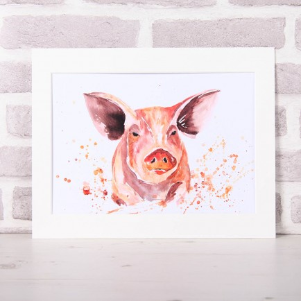 Meg Hawkins Mounted 'Penelopy' the pig Print