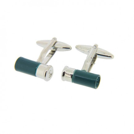 Green Shotgun Cartridge Cufflinks