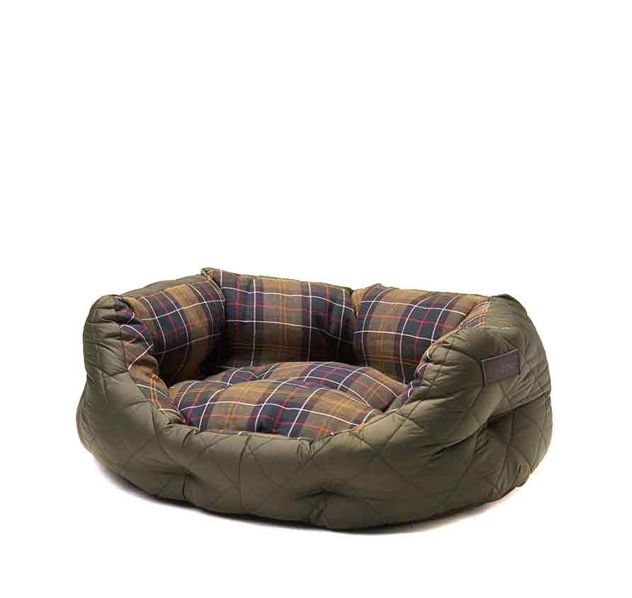 Barbour Quilted Dog Bed 24in Olive Dog Accessories