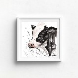 Meg Hawkins 12 X 12 Unmounted 'Leah' the Friesian Cow Print