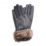 Barbour Fur Trimmed Leather Gloves Dk Brown