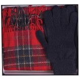 Barbour Scarf And Glove Gift Set Red Tartan