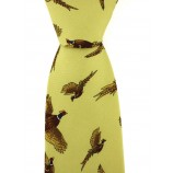 Printed Silk Tie Yellow Pheasants