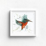 Meg Hawkins 12 X 12 Unmounted 'Kev' the Kingfisher Print