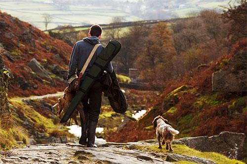 Man and Gun Dog on Heather Moor