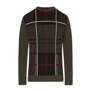 Barbour Sett Crew Sweater Olive Marl