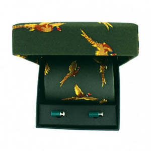 Flying Pheasant Tie and Cufflink Set