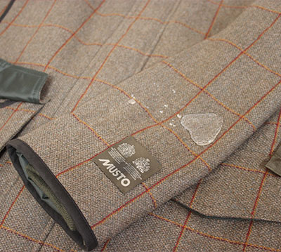Water on Musto DWR Coating